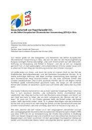 Gruss-Botschaft von Papst Benedikt XVI,. an die Dritten ...