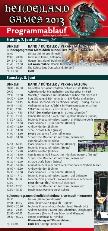 Programm der Hei(de)land Games 2013 (PDF) - 2nd International ...