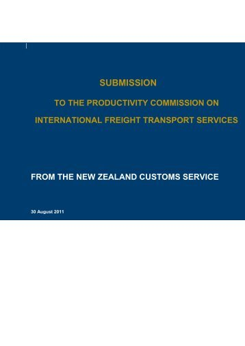 NZ Customs Service Submission PDF - Productivity Commission