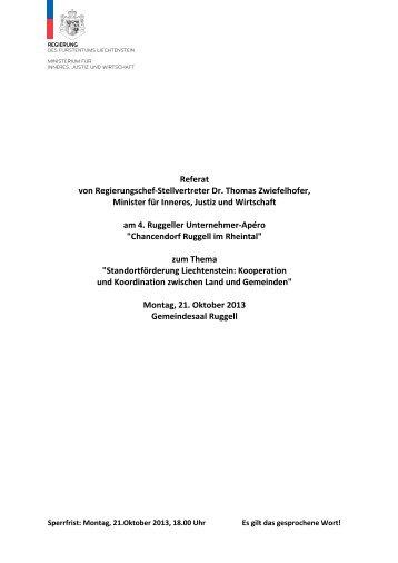 Referat von Regierungschef-Stellvertreter Dr. Thomas Zwiefelhofer ...