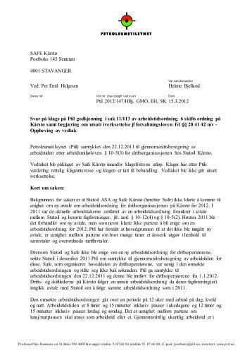 Per Emil Helgesen Helene Bjelland Ptil 2012/147/HBj, GMO ... - Safe
