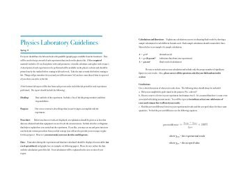 Physics Laboratory Report Format