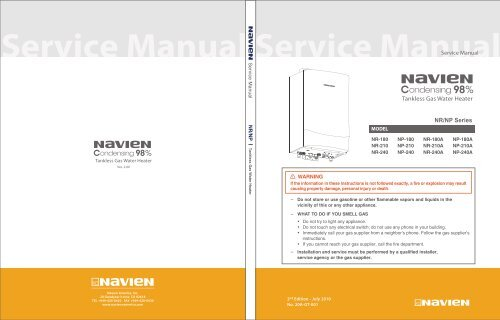 Navien NP Condensing Tankless Gas Water Heater - Service Manual on