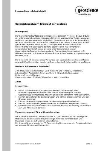 Lernwelten - Arbeitsblatt - Scinexx
