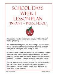 School Days Week 1 Lesson Plan - 1 - 2 - 3 Learn Curriculum