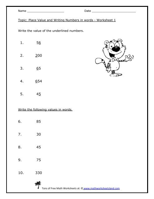 Place Value and Writing Numbers in words - Math Worksheets Land