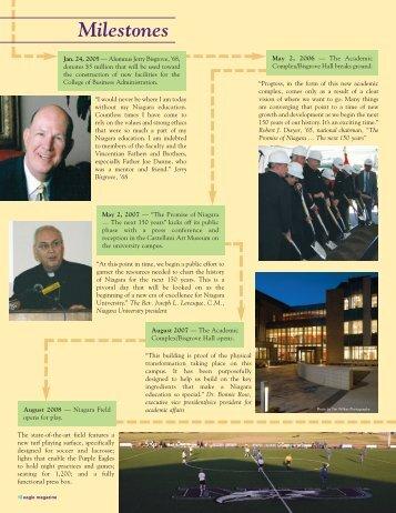 Milestones - Eagle Online - Niagara University