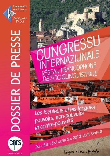 Télécharger le dossier de presse - Università di Corsica Pasquale ...