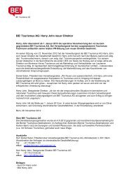 BE! Tourismus AG: Harry John neuer Direktor - Wirtschaftsraum Bern