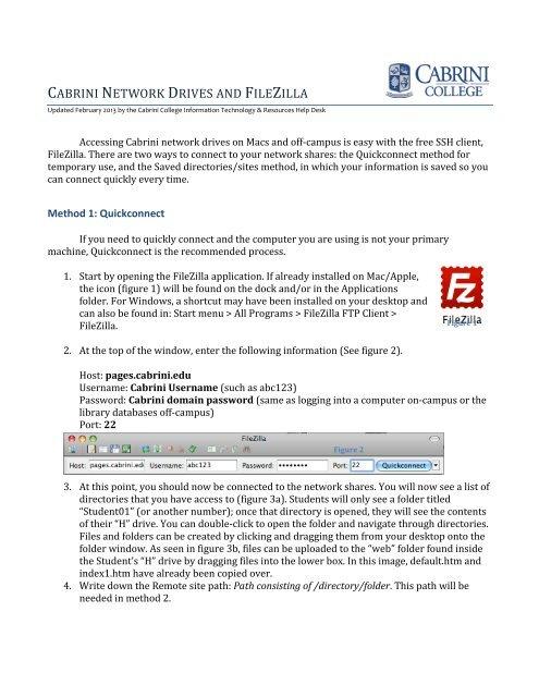 Cabrini College Campus Map.Cabrini Network Drives And Filezilla Cabrini College