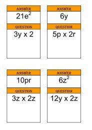 Treasure Hunt - multiplying algebraic terms - Mr Barton Maths
