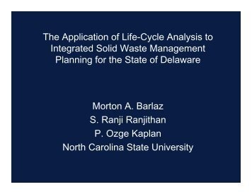 The Application of Life-Cycle Analysis to ... - State of Delaware