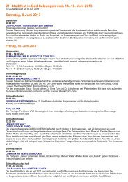 21. Stadtfest in Bad Salzungen vom 14.-16. Juni 2013 Samstag, 8 ...