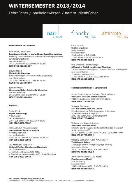 WINTERSEMESTER 2013/2014 - Gunter Narr Verlag/A. Francke ...