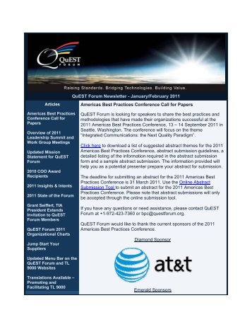 QuEST Forum Newsletter - January/February 2011 Americas Best ...