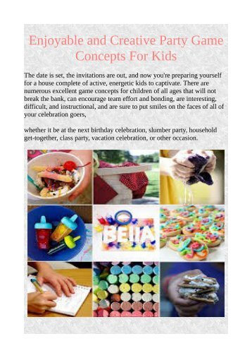 Enjoyable and Creative Party Game Concepts For Kids