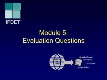 Module 5: Evaluation Questions