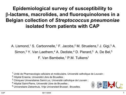 S. pneumoniae epidemiology in CAP