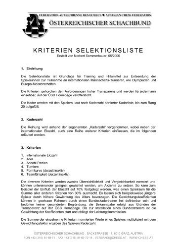 KRITERIEN SELEKTIONSLISTE - Österreichischer Schachbund