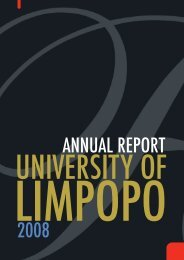 ANNUAL REPORT 2008 - University of Limpopo