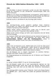 Chronik der USKA-Sektion Winterthur 1961 - 1970 - HB9W