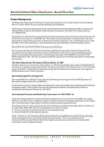 Burnett Catchment Water Infrastructure - Burnett River Dam Project ...