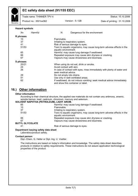 EC safety data sheet (91/