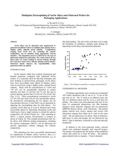 Multipulse Electroplating of Au/Sn Alloys onto     - CS Mantech
