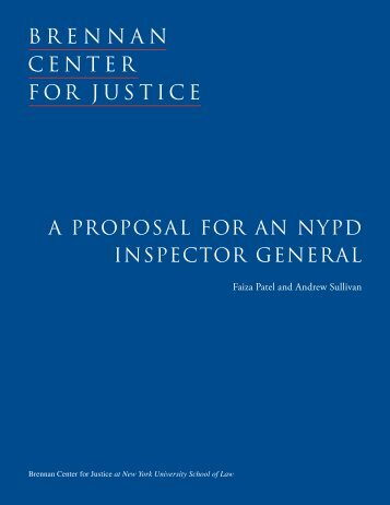 a proposal for an nypd inspector general - Brennan Center for Justice