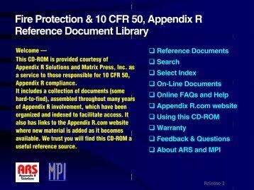 Fire Protection & 10 CFR 50, Appendix R ... - AppendixR.com