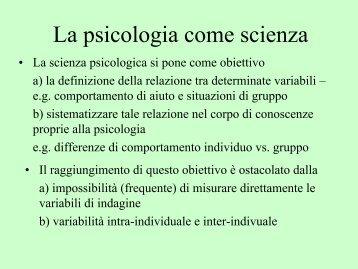 La psicologia come scienza - Lettere e Filosofia