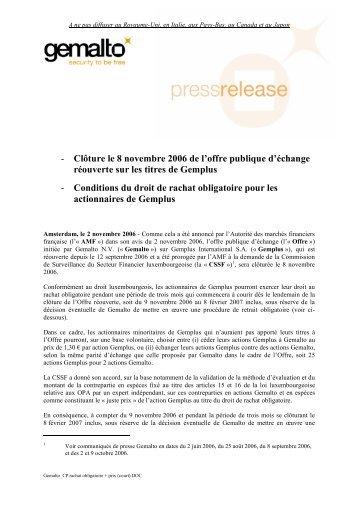 Clôture le 8 novembre 2006 de l'offre publique d'échange ... - Gemalto
