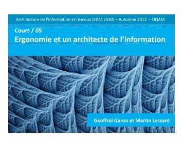 Ergonomie et un architecte de l'information - Geoffroi Garon.