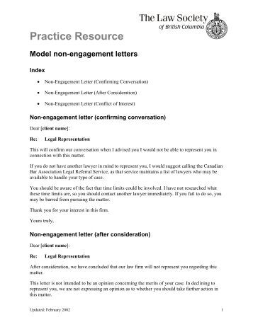 non engagement letter the law society of british columbia