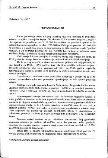 Dervišić M.: Popisni katastar _ 25