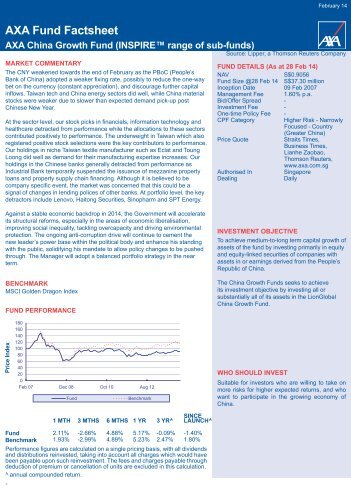 AXA Fund Factsheet - AXA Life Insurance Singapore