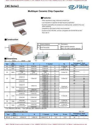 Multilayer Ceramic Capacitors MC Series - Weltron Elektronik GmbH