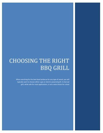 Choosing the right bbq grill - SGBoating