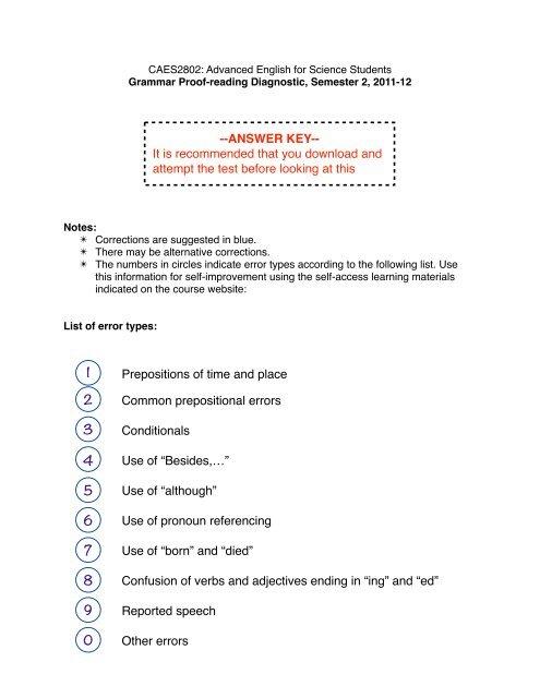 Grammar Diagnostic Answer Key-2012