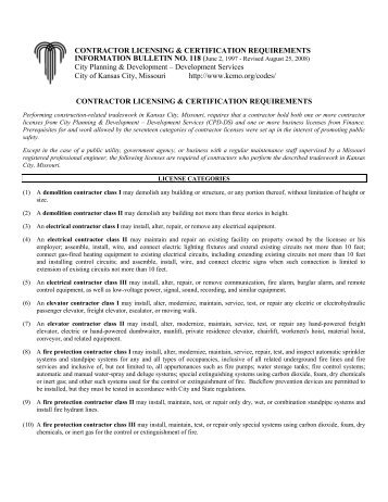 CONTRACTOR LICENSING & CERTIFICATION REQUIREMENTS ...