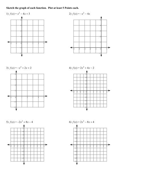 Graphing Parabolas Worksheet