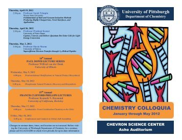 CHEMISTRY COLLOQUIA - Department of Chemistry - University of ...