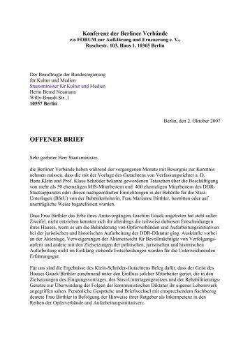 schreiben an staatsminister bernd neumann vom 2.10.2007
