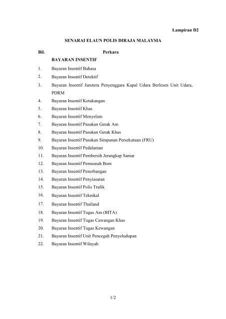 Senarai Elaun Polis Diraja Malaysia