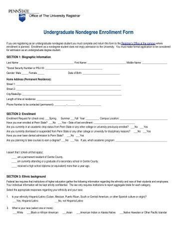 Undergraduate Nondegree Enrollment Form - Penn State Hazleton