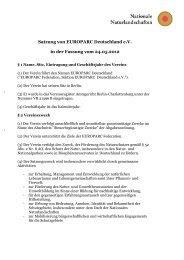 Satzung von EUROPARC Deutschland e.V. in der Fassung vom ...
