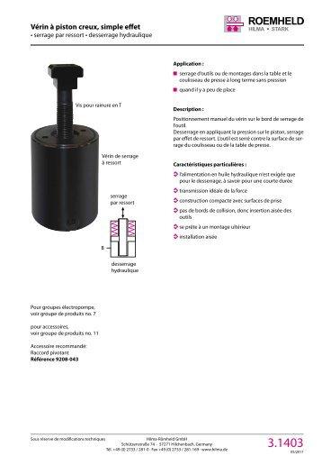 1 2 3 4 5 6 7 8 9 10 11 12 Vérin à piston creux, simple effet