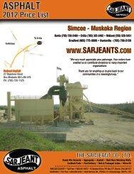 Sarjeant Asphalt - 2012 Price Schedule