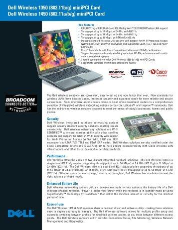 Dell Wireless 1350 (802.11b/g) miniPCI Card Dell Wireless 1450 ...