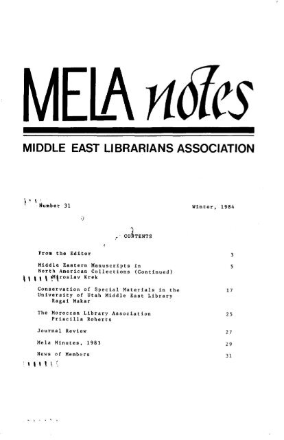 View or Download MELA Notes 31 - Middle East Librarians